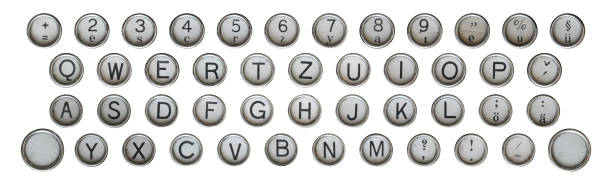 Buttons of keyboard of old classical typewriter stock photo
