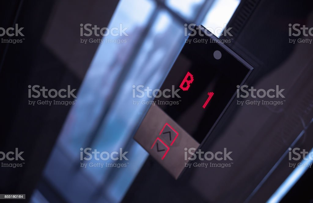 Buttons of Modern Elevator stock photo