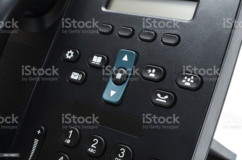 Buttons on a black desk phone stock photo