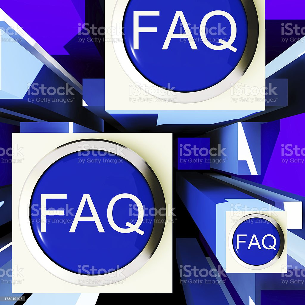 FAQ Buttons On Cubes Shows Assistance stock photo