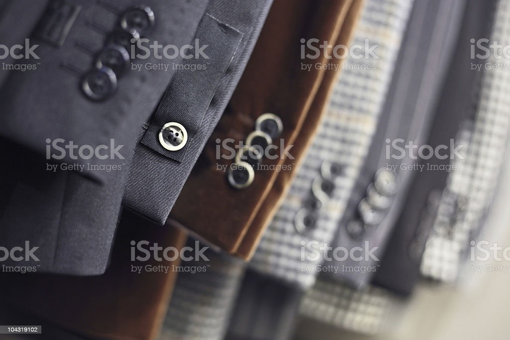 Buttons on luxurious jackets sleeves stock photo
