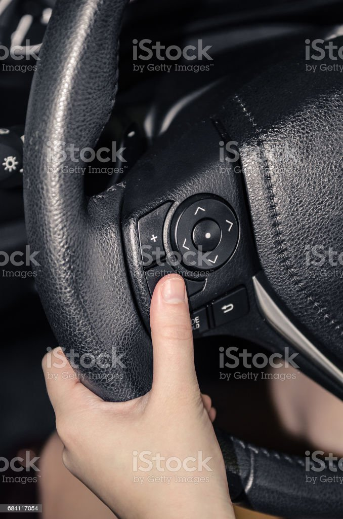 Buttons on the steering wheel foto stock royalty-free