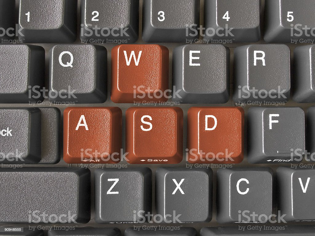 Buttons WASD on keyboard stock photo