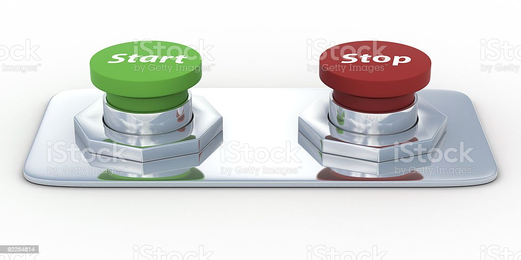 Buttons with an inscription start and stop. Isolated 3D image royalty-free stock photo
