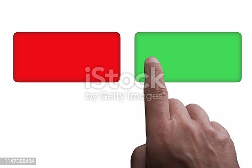 Buttons with copy space, green and red, and finger pointing, on a white background