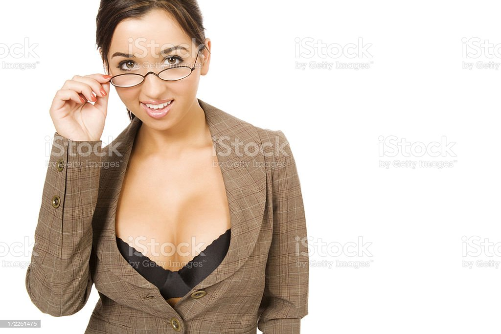Buxom Businesswoman in Glasses royalty-free stock photo