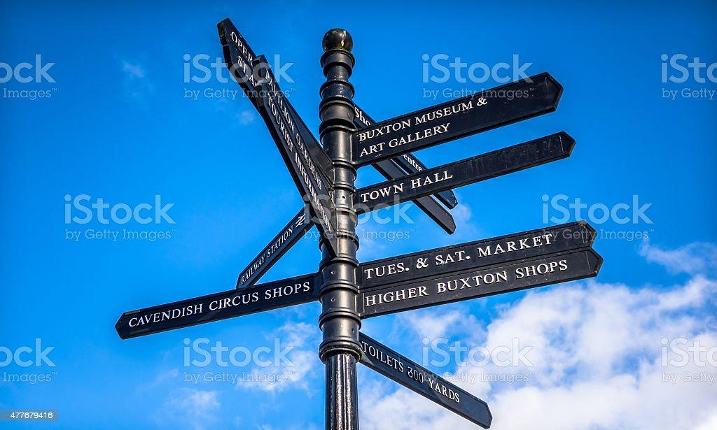 Buxton Tourism Sign stock photo