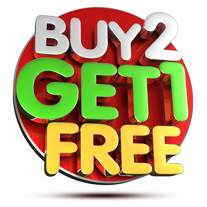 istock Buy 2 Get 1 Free 3D.(with Clipping Path). 1149047430