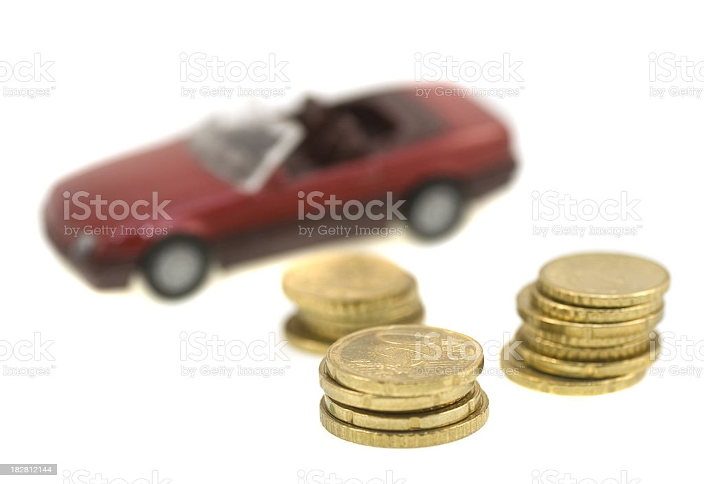 Buy a new car with coins macro abstract, unusual picture royalty-free stock photo