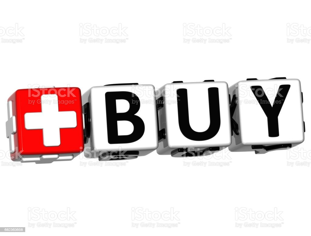 3D Buy Button Click Here Block Text foto stock royalty-free