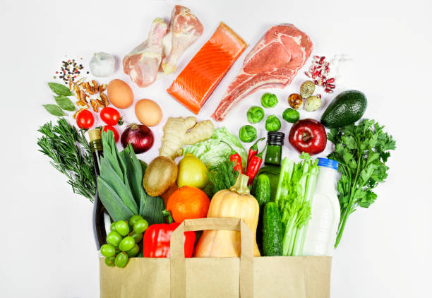 buy, care, delivery, diet, eco, family, farm, bag, vegetables, food stock photo