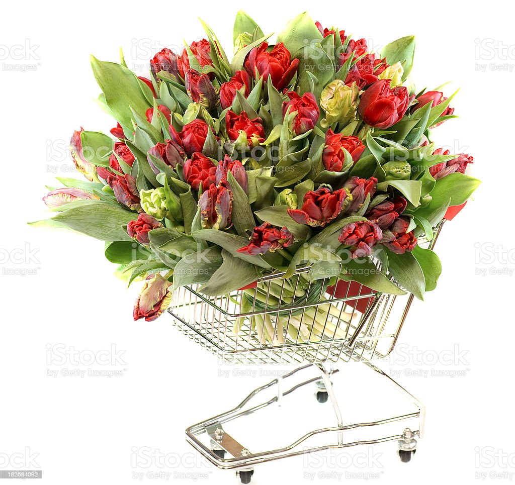 buy flowers in shopping cart stock photo