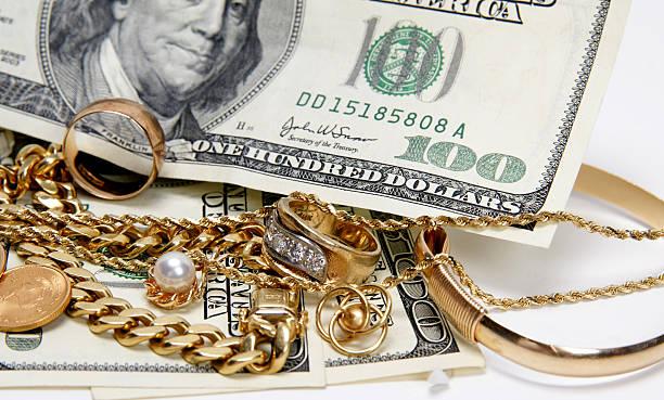 I buy gold jewelry stock photo