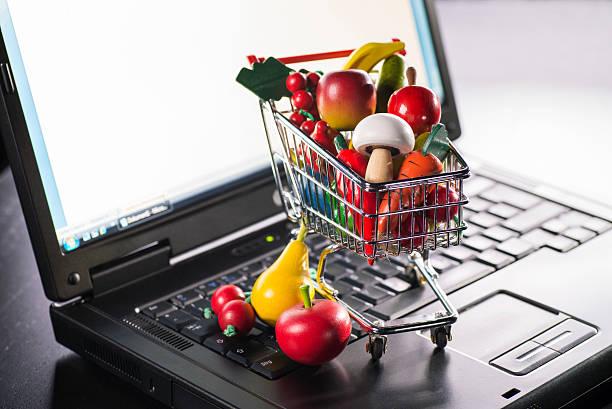 Buy groceries online stock photo