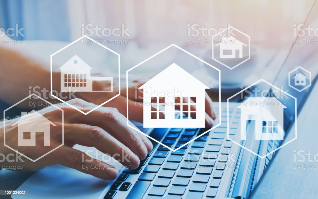 Buy house, real estate concept, different offers of property online. stock photo