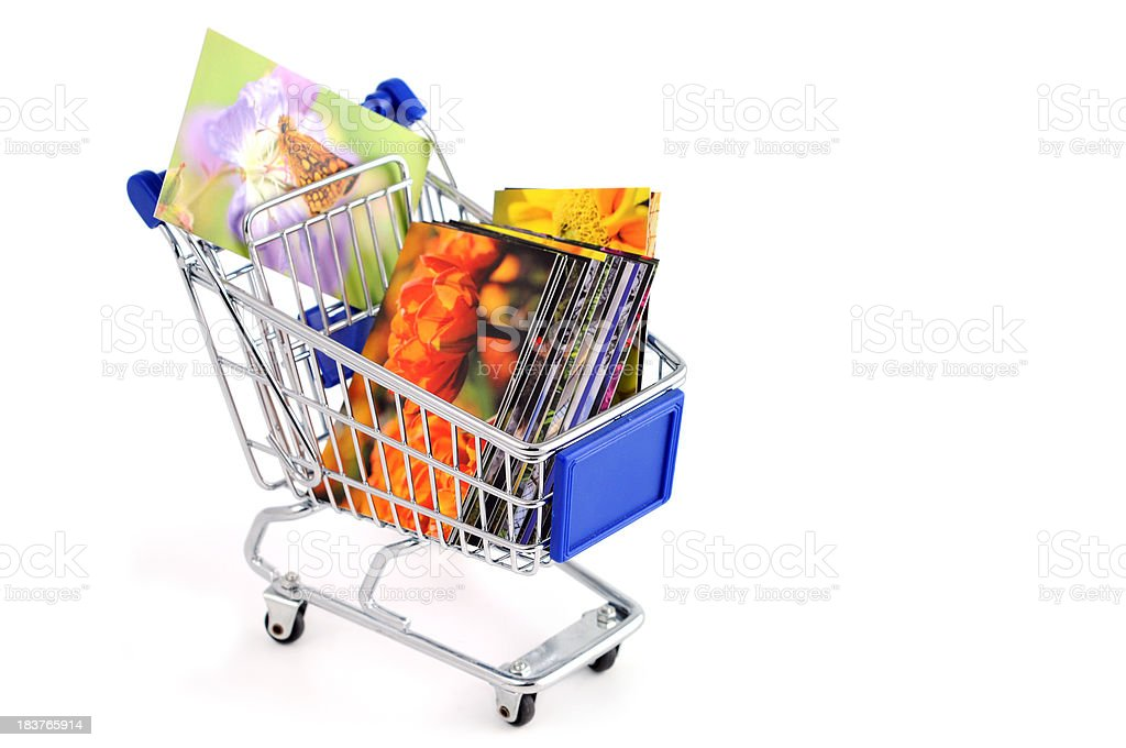 buy images business cards in a shopping cart royalty-free stock photo