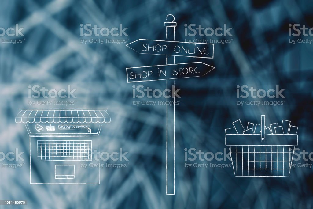 buy in store or online road sign with laptop and shopping basket stock photo