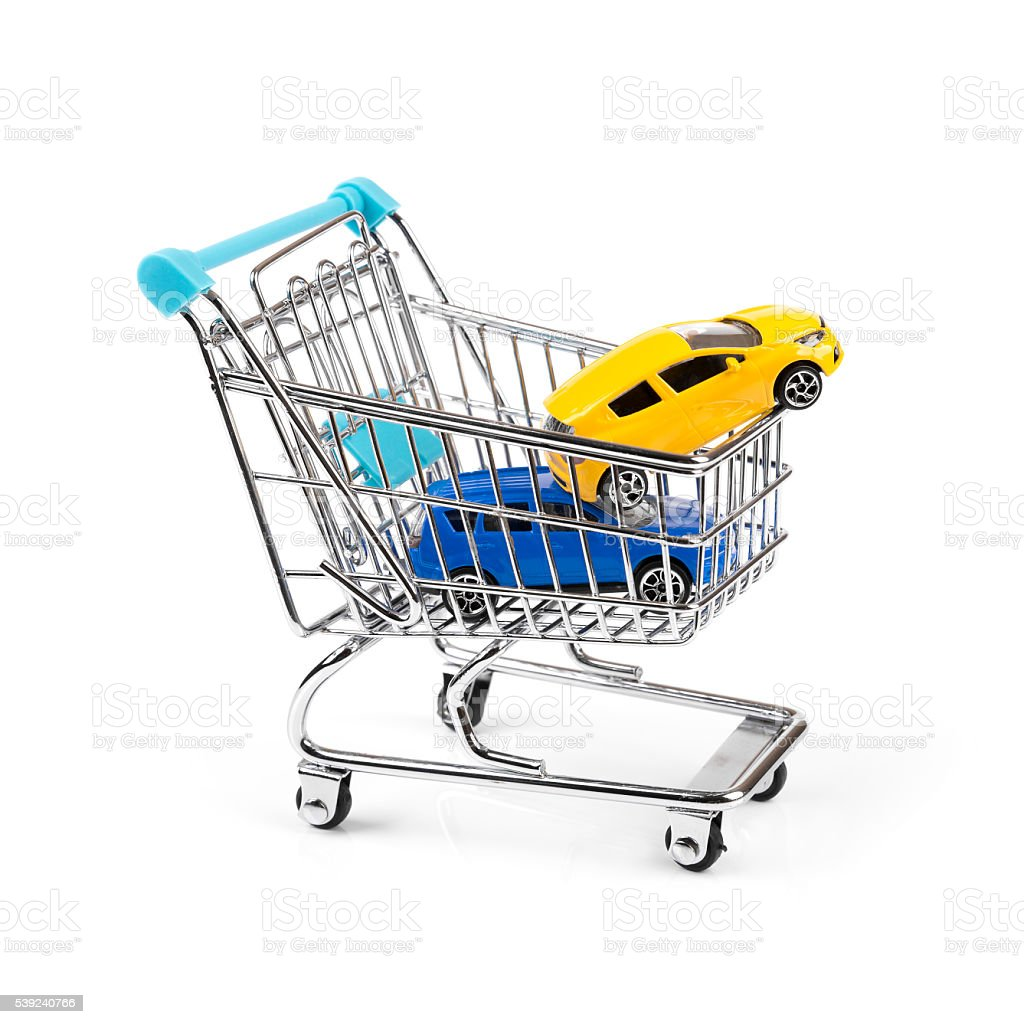 buy new car concept, two cars in a shopping cart royalty-free stock photo