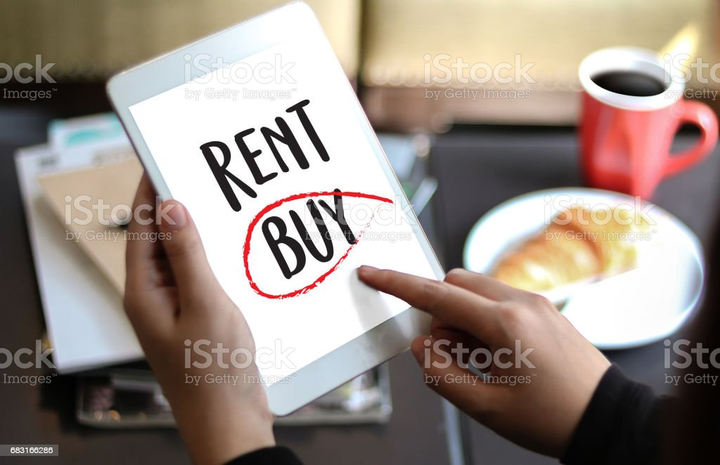 Buy not rent  concept. Choosing buying over renting royalty-free 스톡 사진