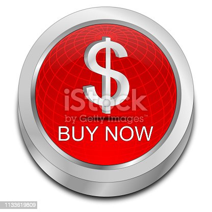 glossy red buy now button - 3D illustration