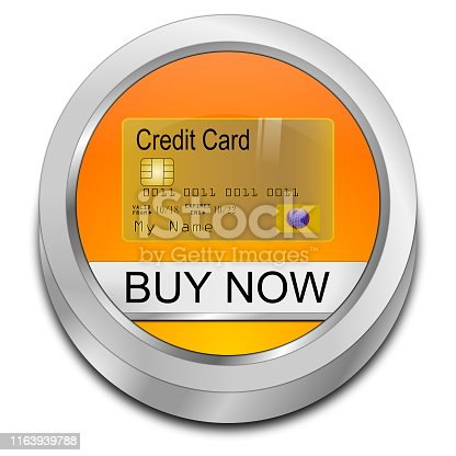 orange buy now button with credit Card - 3D illustration