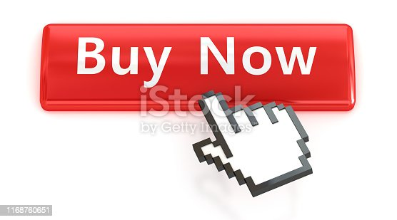 istock Buy Now. Red push button with click hand cursor isolated on the white background. Web design icon sets. 1168760651