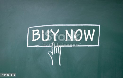 454351815 istock photo Buy now sign being touch by a hand illustrated in chalk 454351815