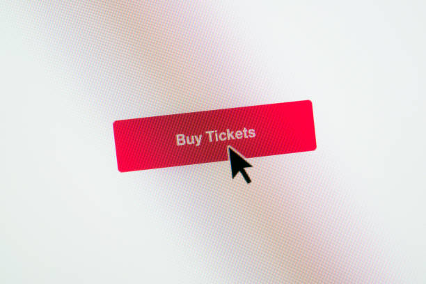 buy tickets web button on webpage - mouse pointer stock photos and pictures