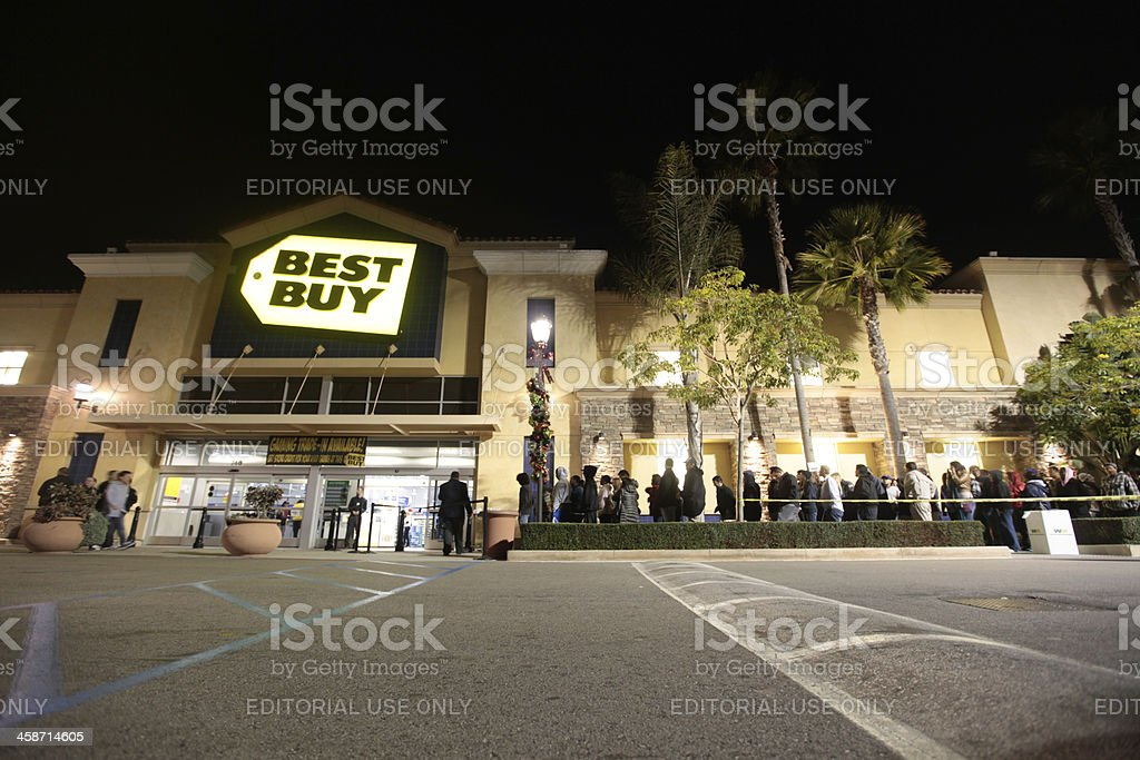 Buyers Line Up For Black Friday stock photo