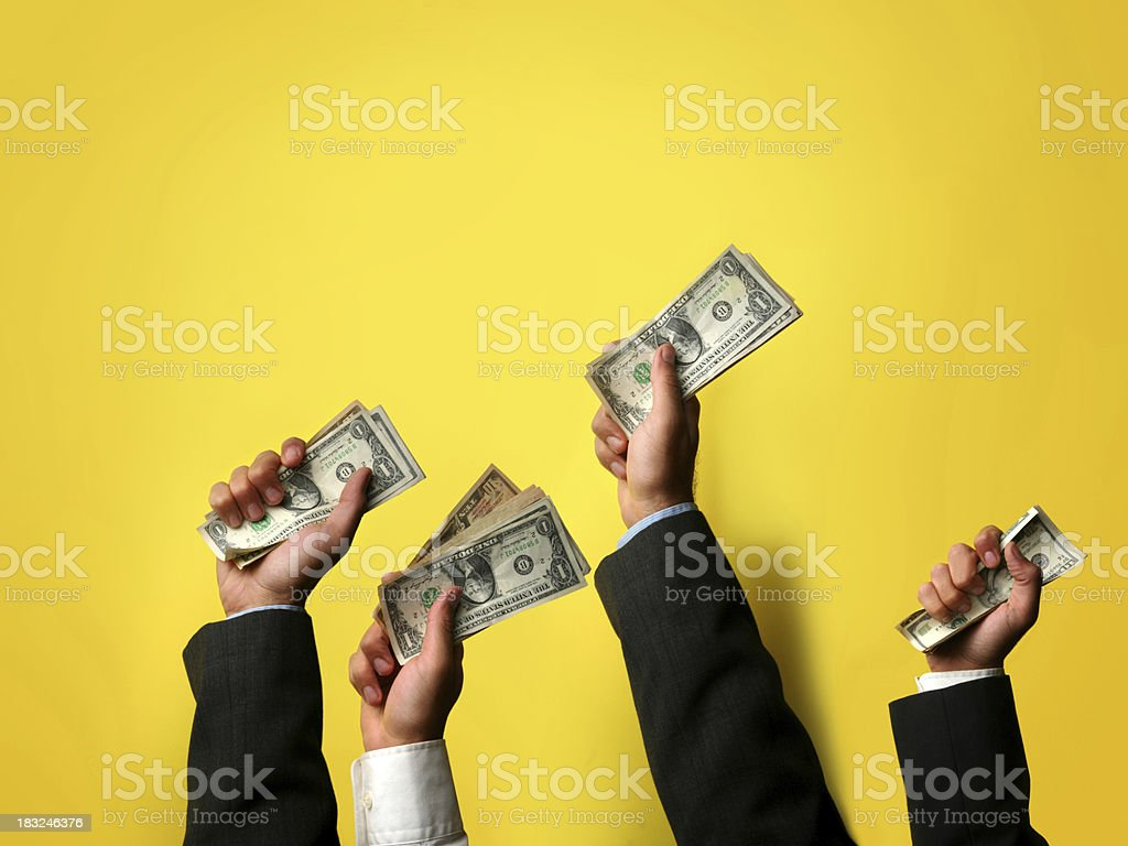buyers offering their cash consumer demand.. economic concepts Arms Raised Stock Photo