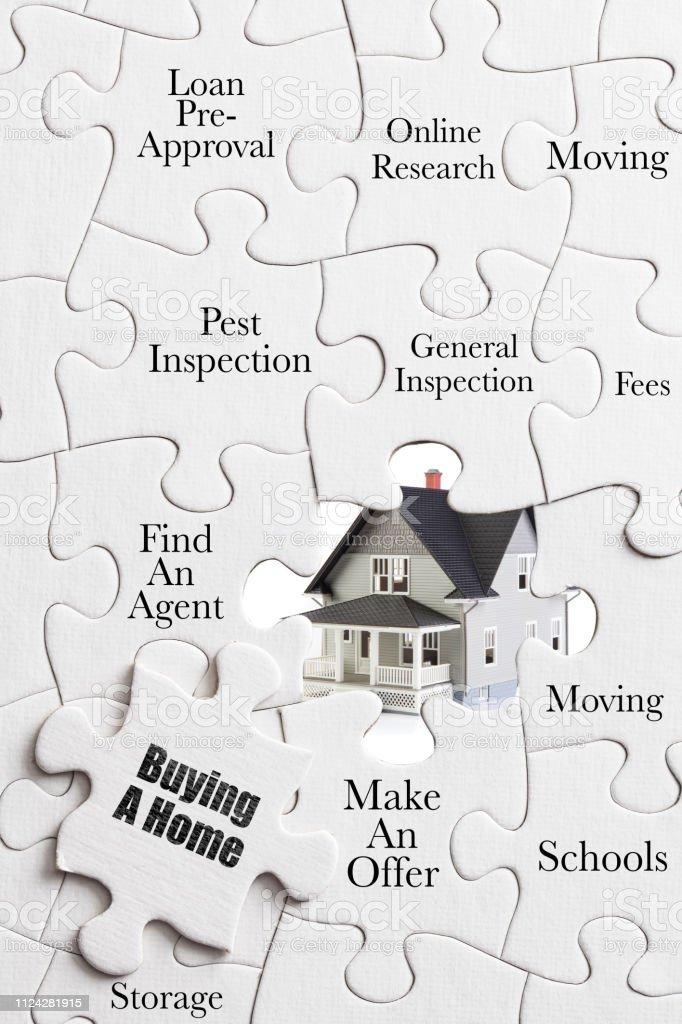 Kauf eines Hauses: Konzept Jigsaw Puzzle - Aufgaben, um ein Haus zu kaufen – Foto