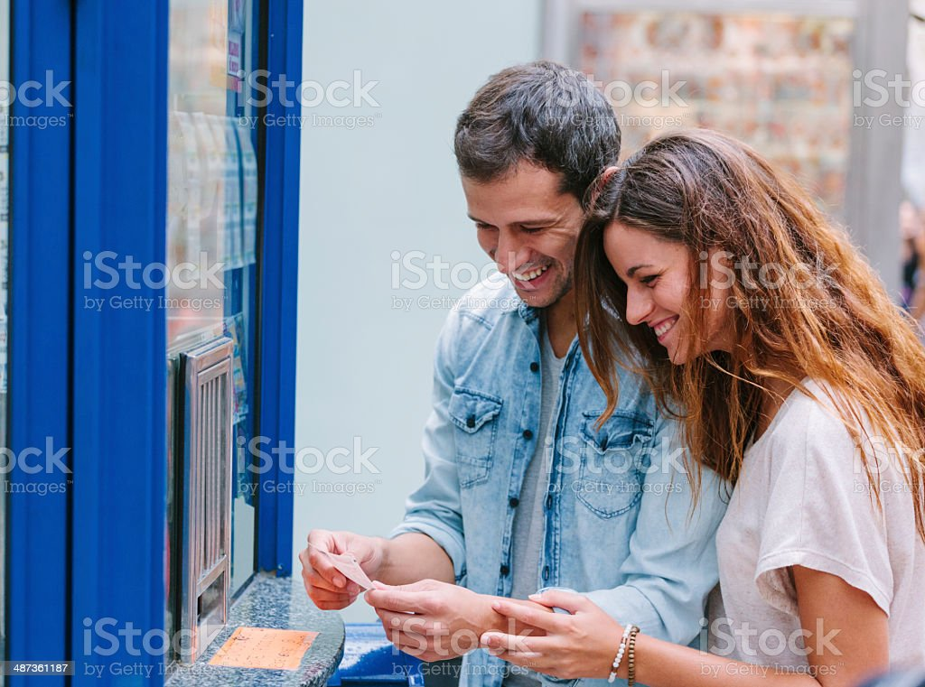 Buying a lottery ticket, Las Ramblas stock photo