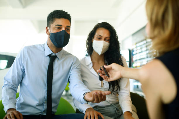 Buying a new car during the pandemic stock photo