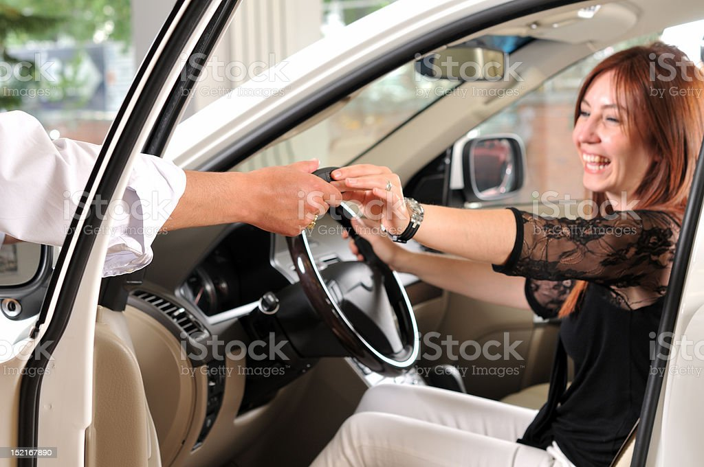 Buying a new car. stock photo