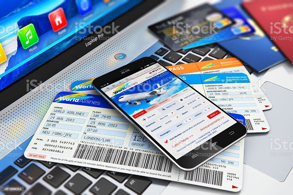 Buying air tickets online via smartphone stock photo