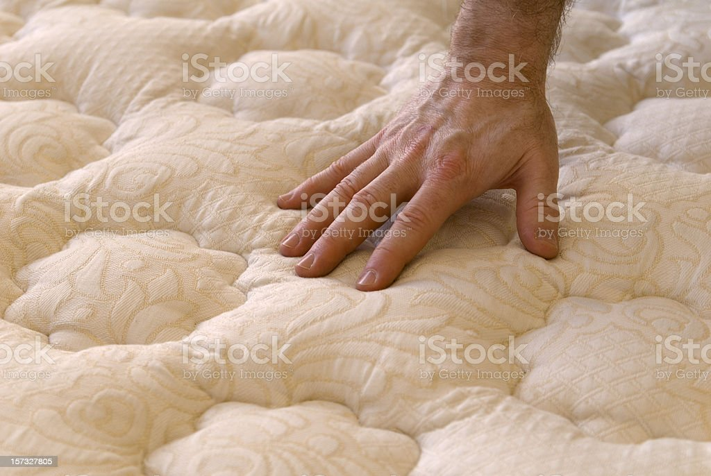 Buying Bed Mattress and Sofa, Hand Touching Furniture while Shopping stock photo