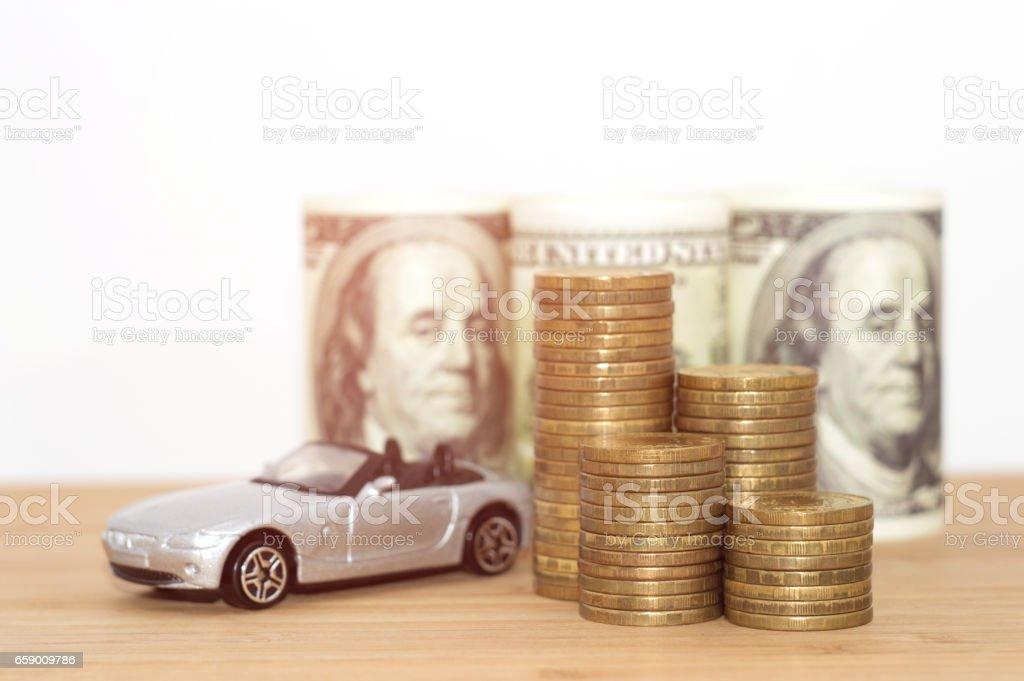 buying car dollar coins stack royalty-free stock photo