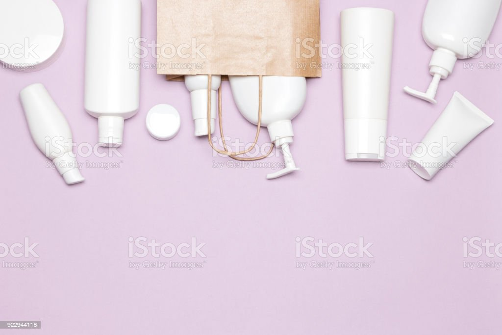 Buying cosmetics concept with copy space stock photo