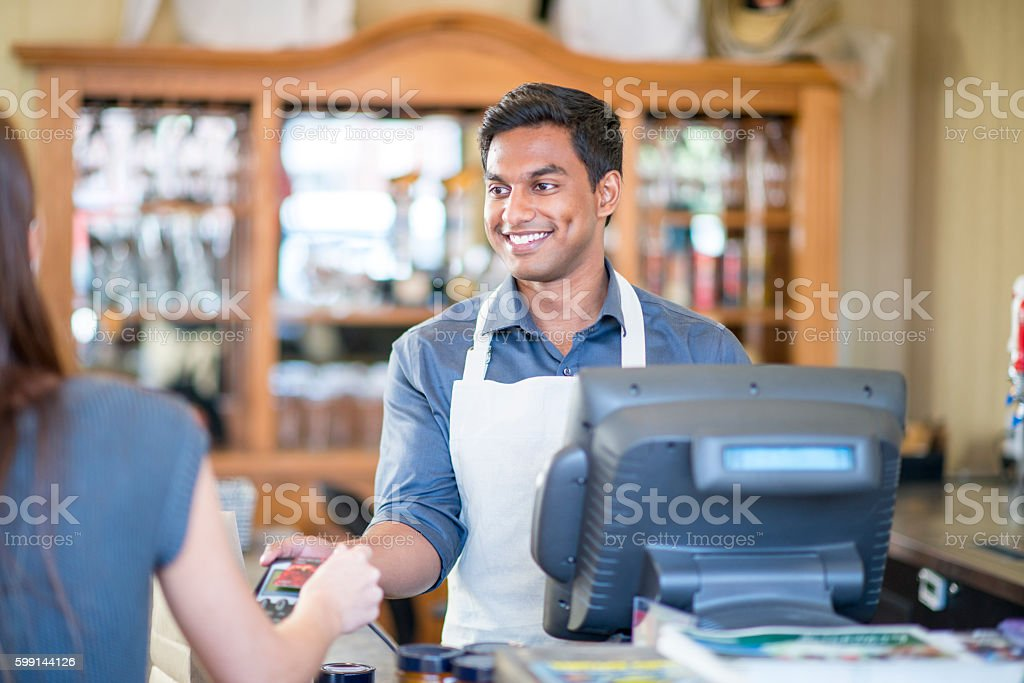 Buying Food From a Restaurant stock photo