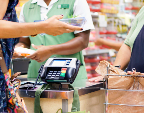 Buying food at supermarket. Interplay of arms and hands.