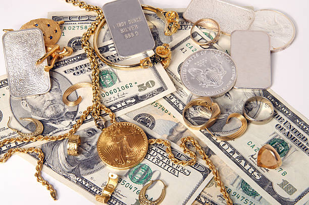Buying gold and silver stock photo