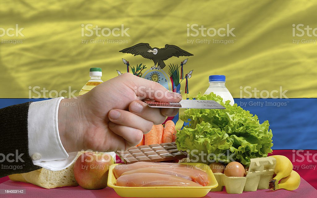 buying groceries with credit card in ecuador royalty-free stock photo