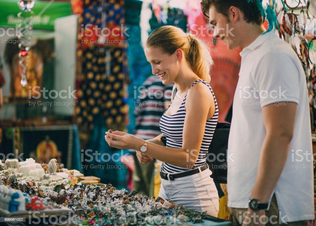Buying Jewellery At Queen Victoria Market stock photo