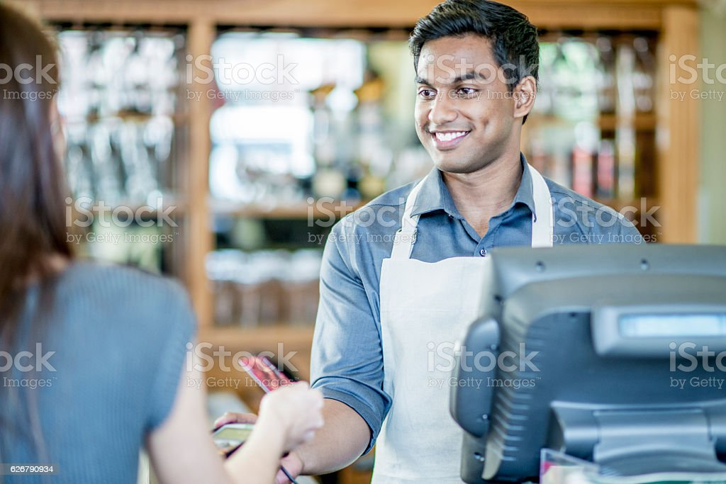 Buying Lunch at a Local Cafe stock photo