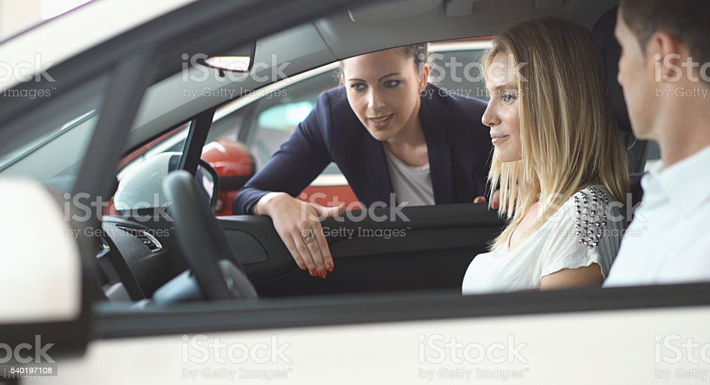 Buying new car. stock photo