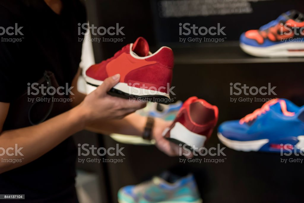 Buying new shoes stock photo