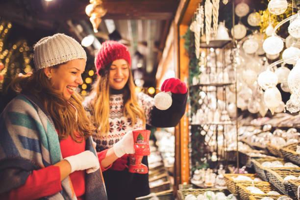 Buying on Christmas market stock photo