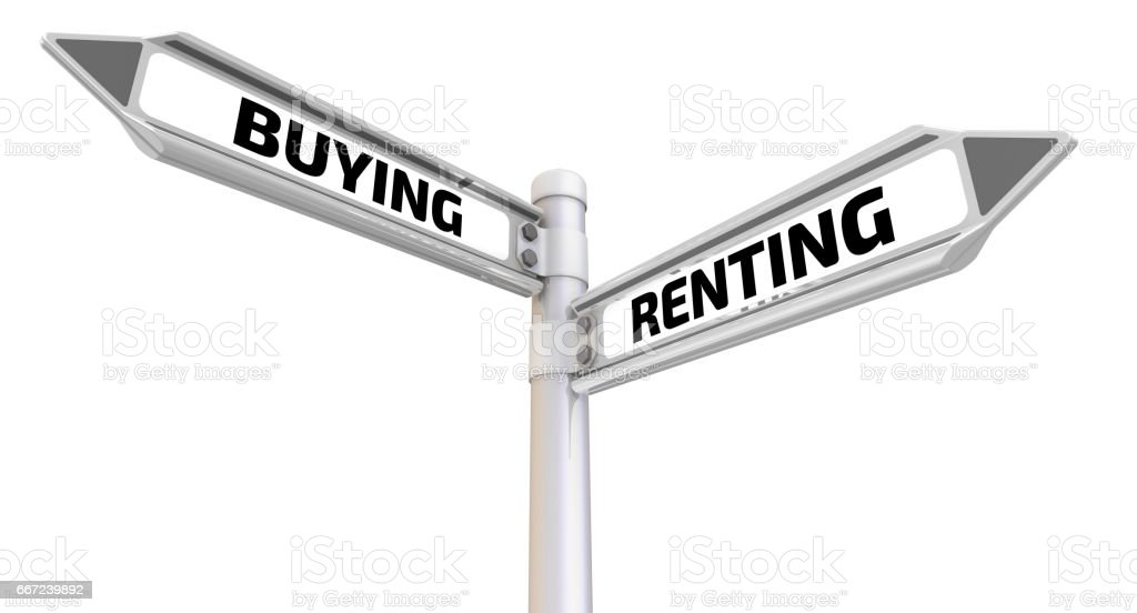 Buying or renting. Road sign stock photo