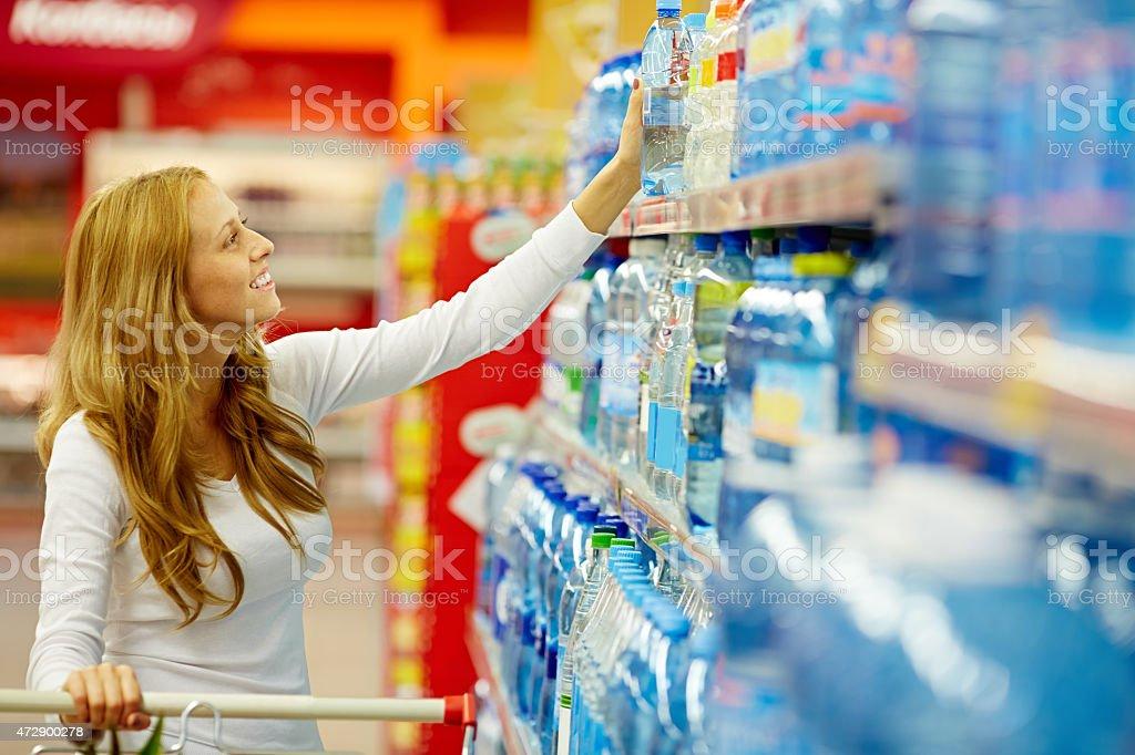 Buying purified water stock photo