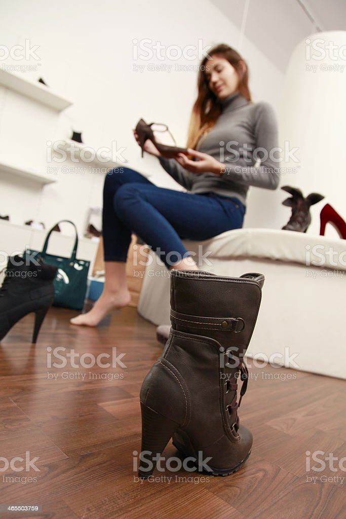 Buying shoes royalty-free stock photo